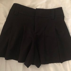Alice and Olivia high waisted pleated black shorts